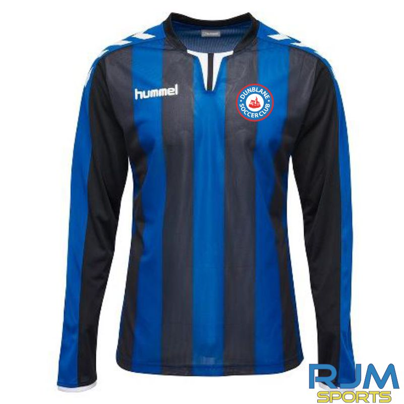 Dunblane Soccer Club Hummel Away Core Striped Long Sleeve Shirt Black True Blue