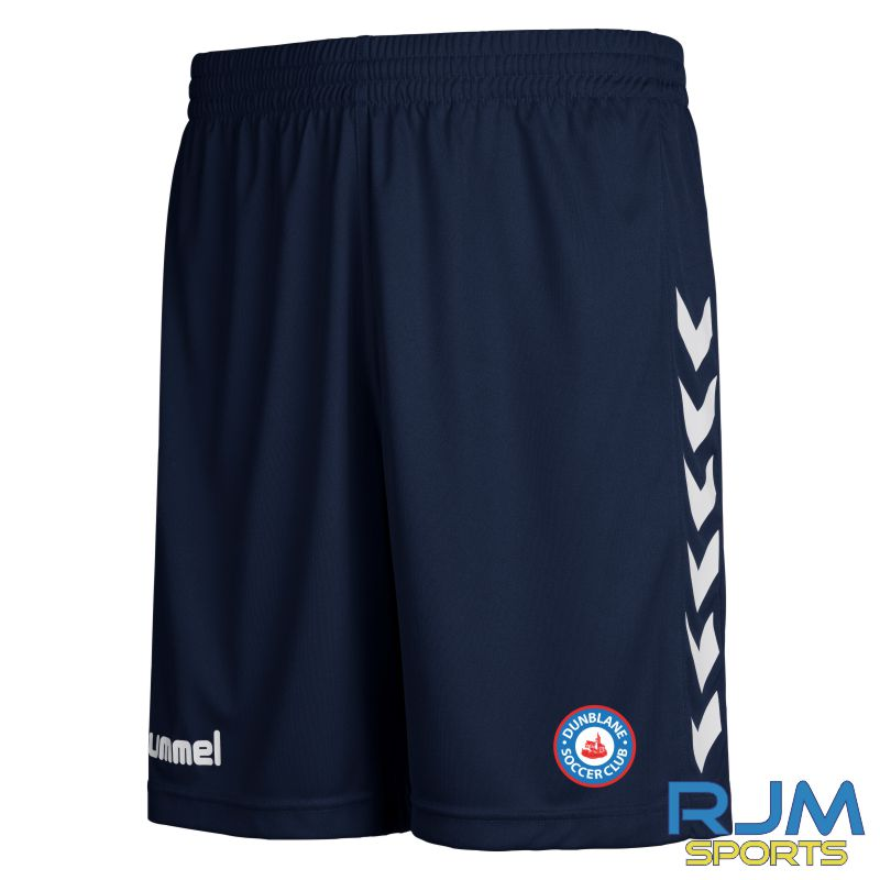 Dunblane Soccer Club Hummel Home Core Poly Shorts Marine White