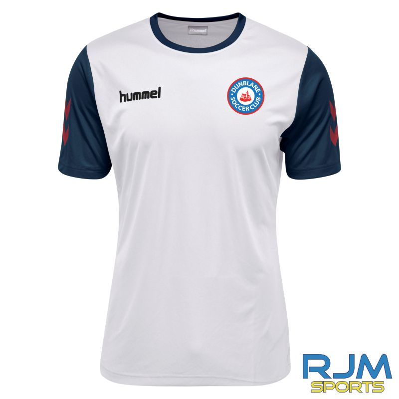 Dunblane Soccer Club Hummel Home Core Hybrid Match Short Sleeve Shirt White Marine True Red