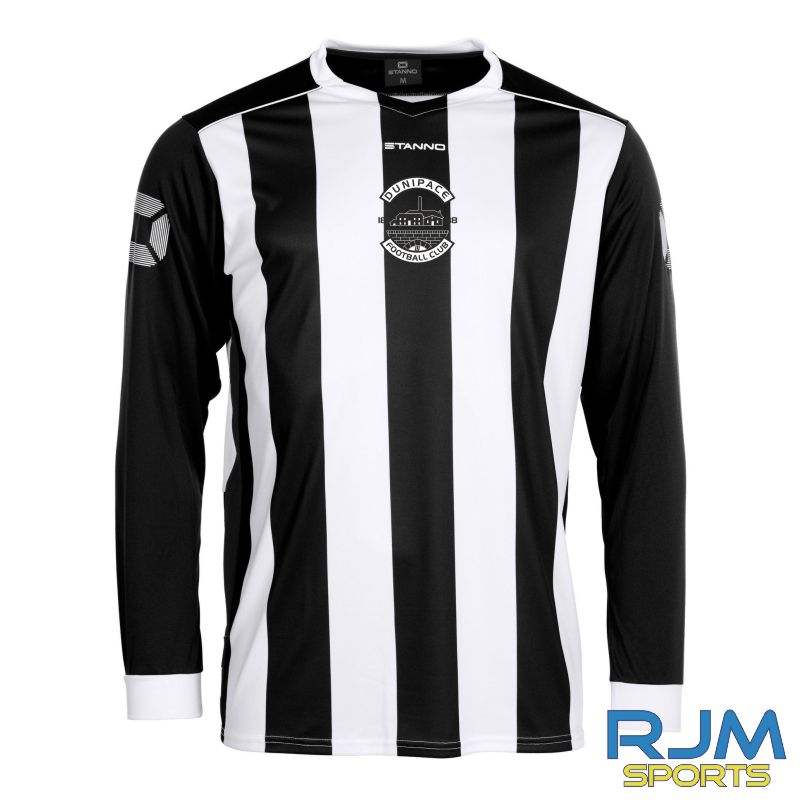 Dunipace FC Stanno Brighton Long Sleeve Home Shirt Black White