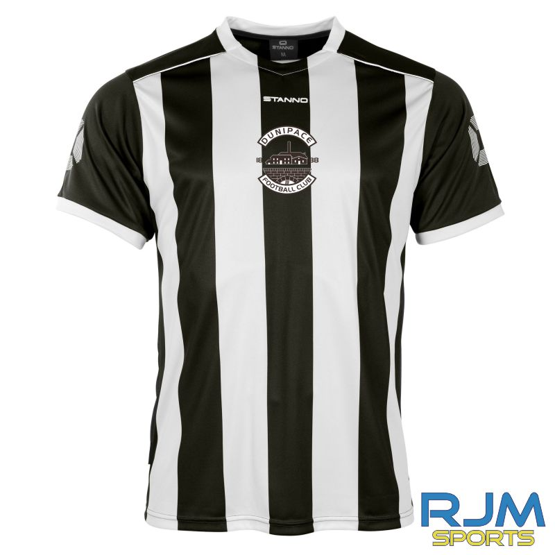 Dunipace FC Stanno Brighton Short Sleeve Home Shirt Black White