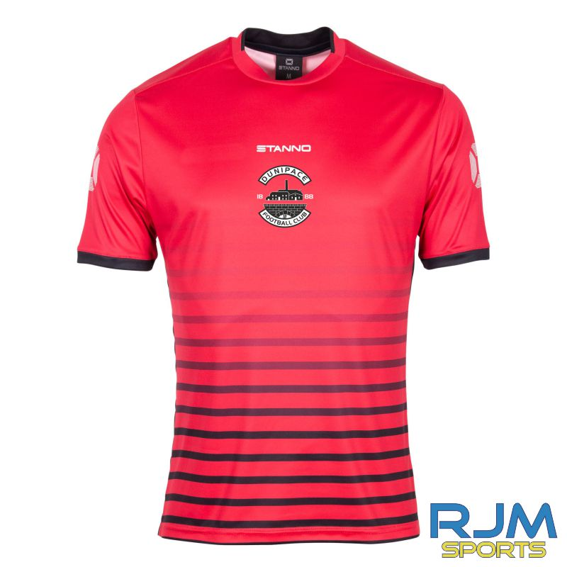 Dunipace FC Stanno Fusion Short Sleeve Away Shirt Red Black