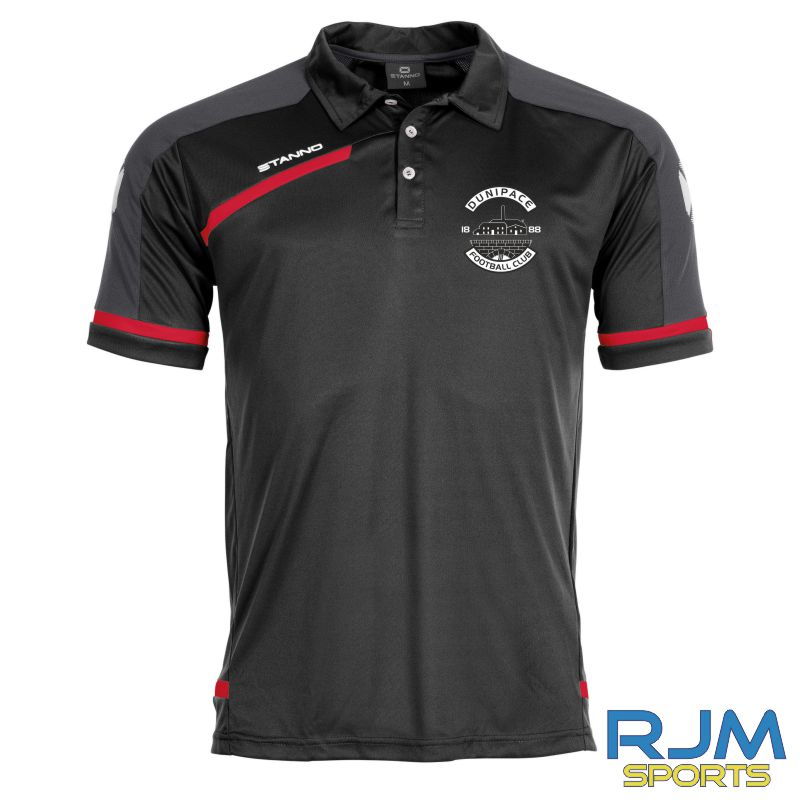 Dunipace FC Stanno Prestige Polo Shirt Black Red