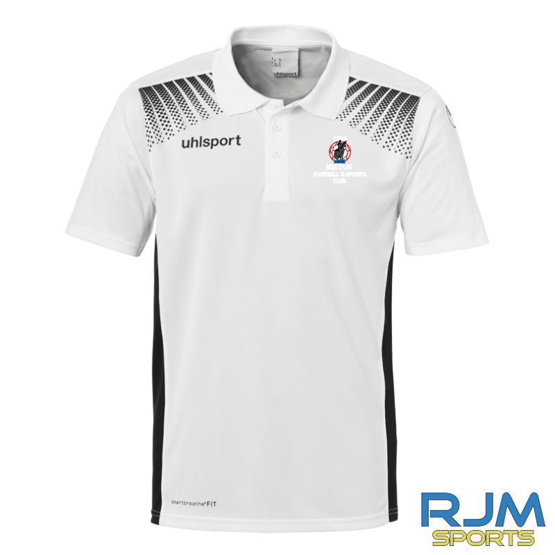 Milton FC Uhlsport Goal Coaches Polo Shirt White/Black