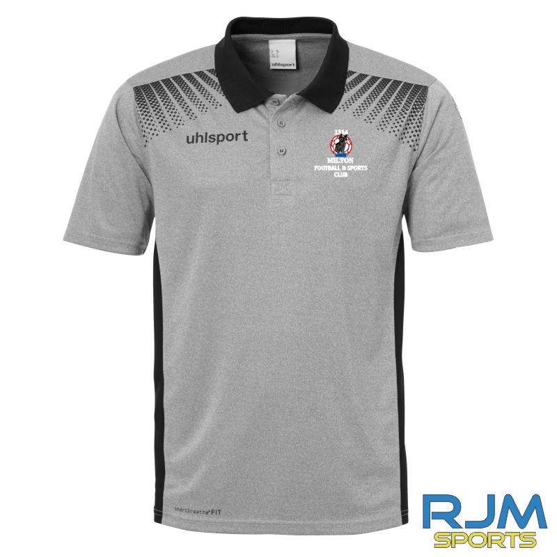 Milton FC Uhlsport Goal Coaches Polo Shirt Grey/Black
