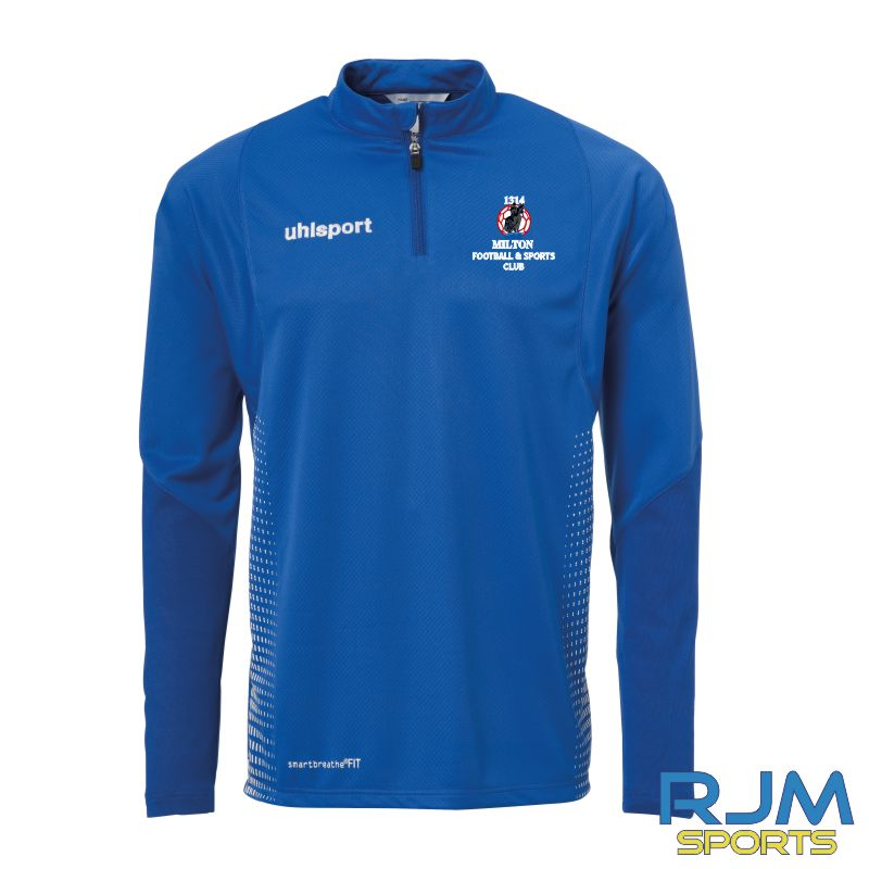 Milton FC Uhlsport Score Quarter Zip Azure Blue/White