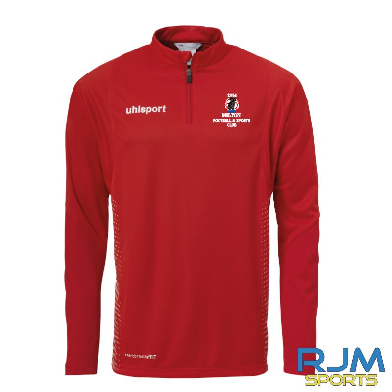 Milton FC Uhlsport Score Quarter Zip Red/White