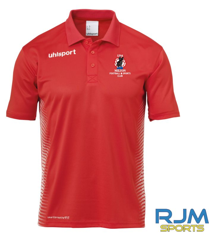 Milton FC Uhlsport Score Polo Shirt Red/White