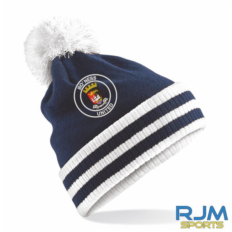 Bo'ness United FC Bobble Hat French Navy White