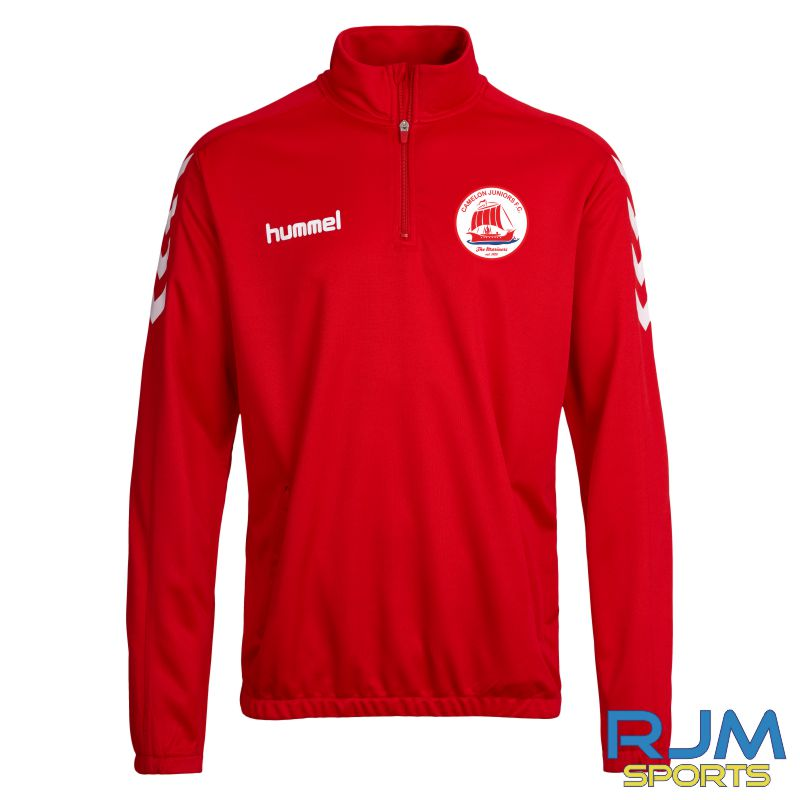 Camelon Juniors FC Players Training Hummel Core 1/4 Zip Red White