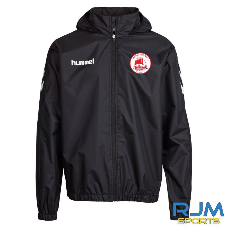 Camelon Juniors FC Coaches Training Hummel Core Spray Rain Jacket Black White