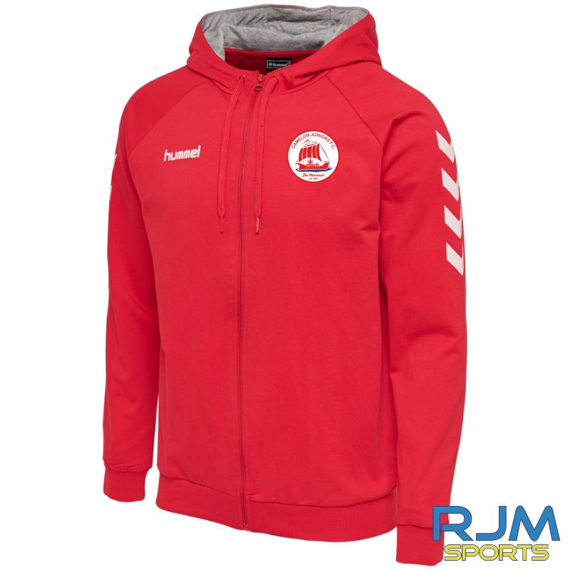 Camelon Juniors FC Hummel Go Cotton Zip Hoodie True Red