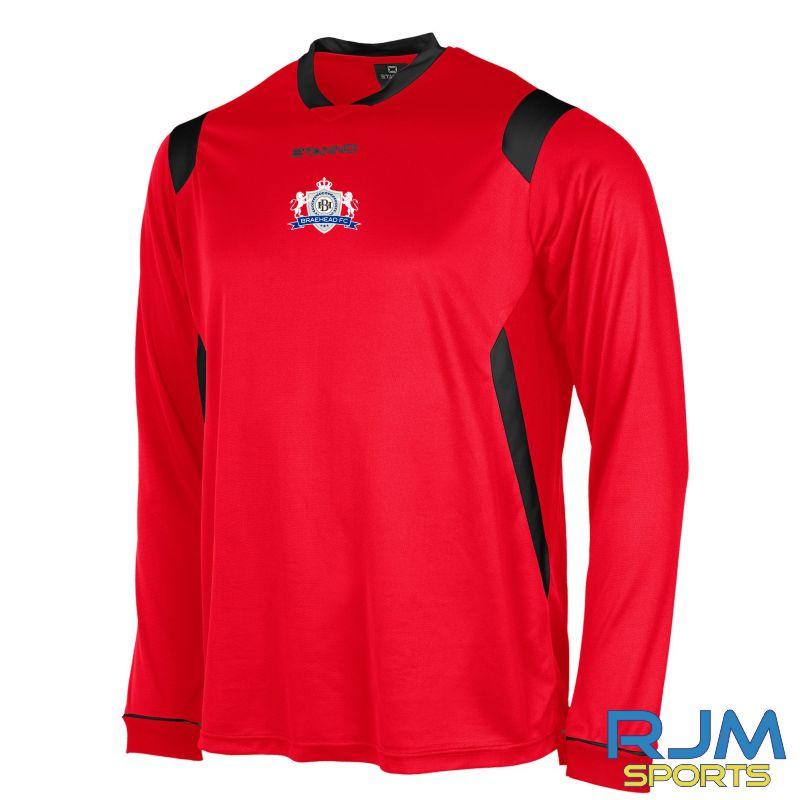 Braehead FC Stanno Arezzo Long Sleeve Away Shirt Red/Black