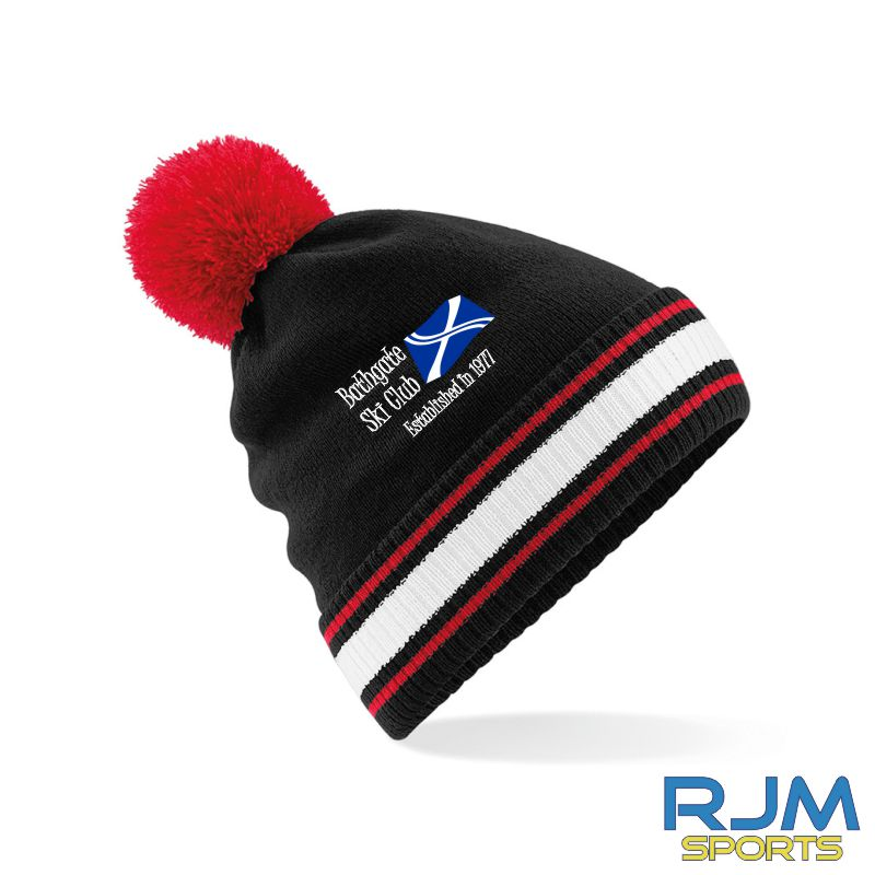 Bathgate Ski Club Beechfield Bobble Hat Black/Red/White