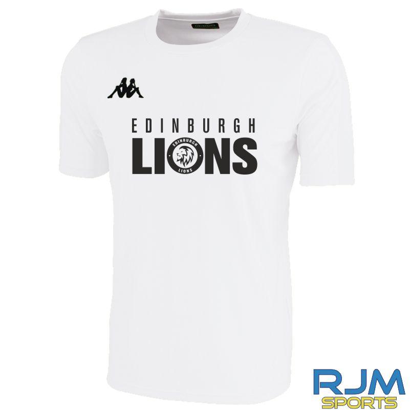 Edinburgh Lions Kappa Rovigo Short Sleeve T-Shirt White/Black