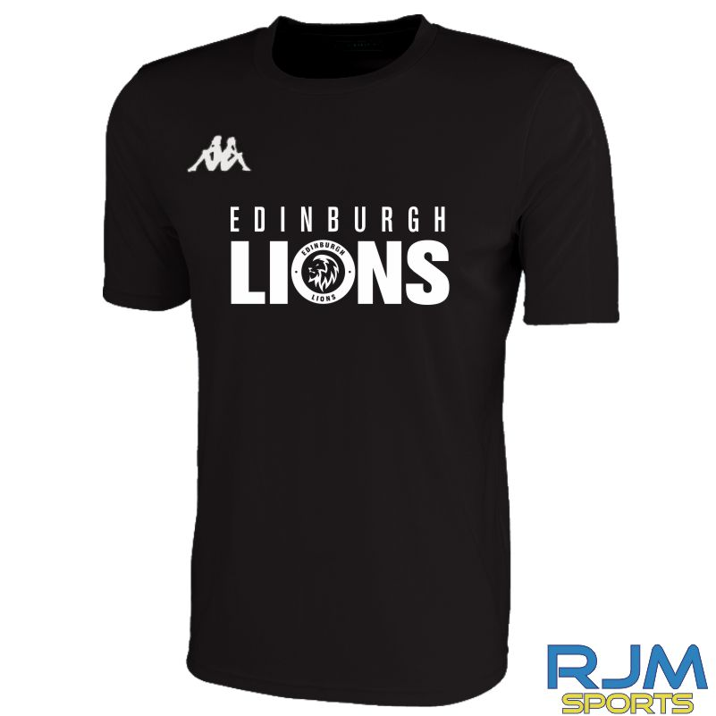 Edinburgh Lions Kappa Rovigo Short Sleeve T-Shirt Black/White