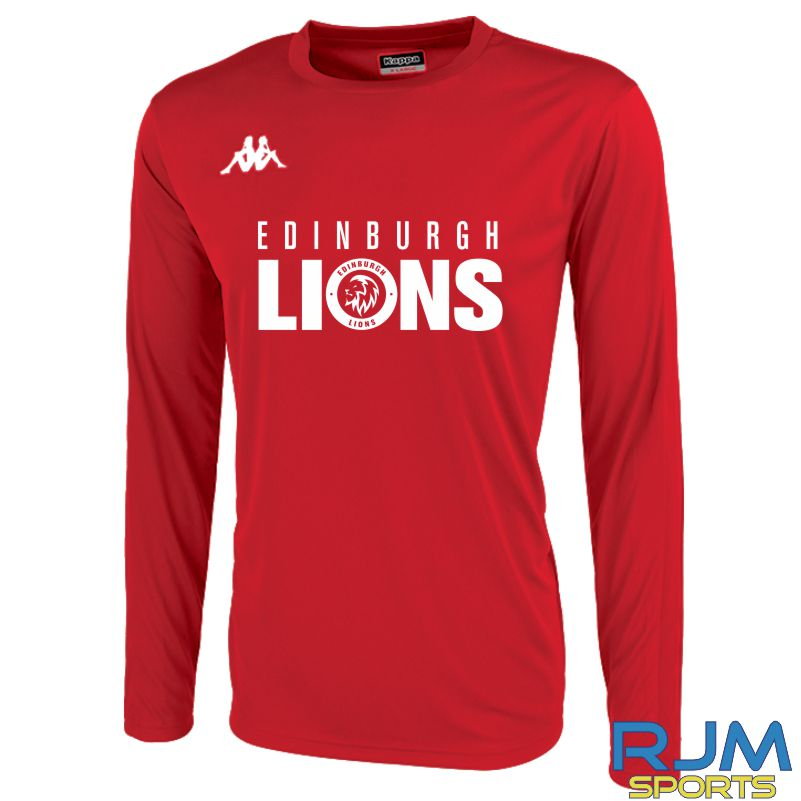 Edinburgh Lions Kappa Rovigo Long Sleeve T-Shirt Light Red/White