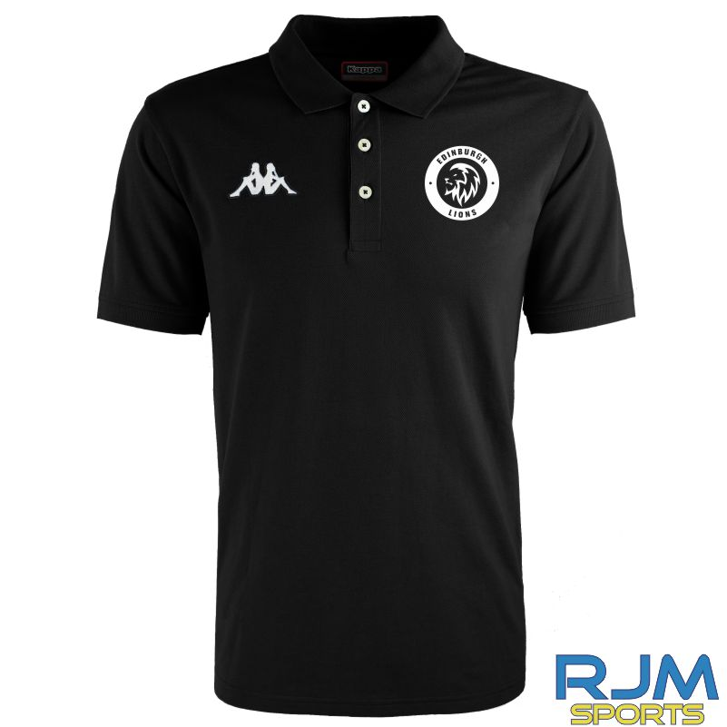 Edinburgh Lions Kappa Peglio Polo Shirt Black