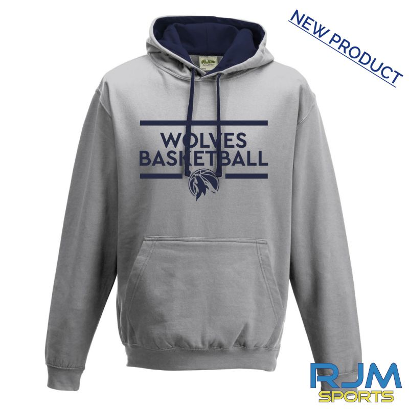 West Lothian Wolves AWDis Varsity Hoodie Heather Grey French Navy