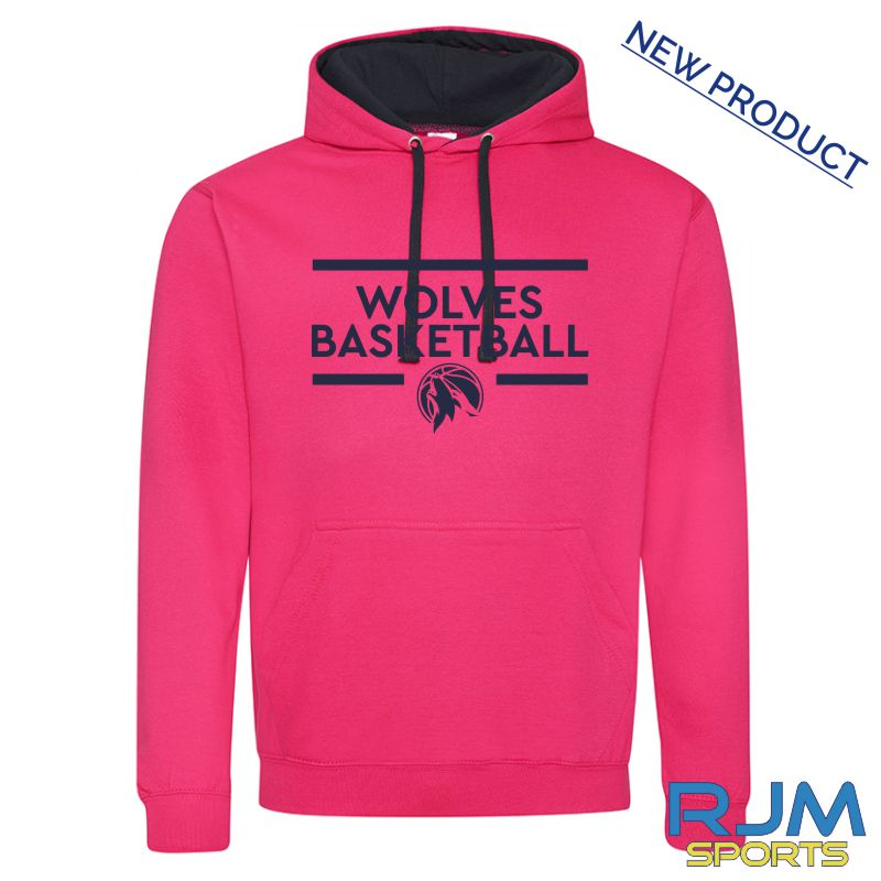 West Lothian Wolves AWDis Varsity Hoodie Hot Pink French Navy