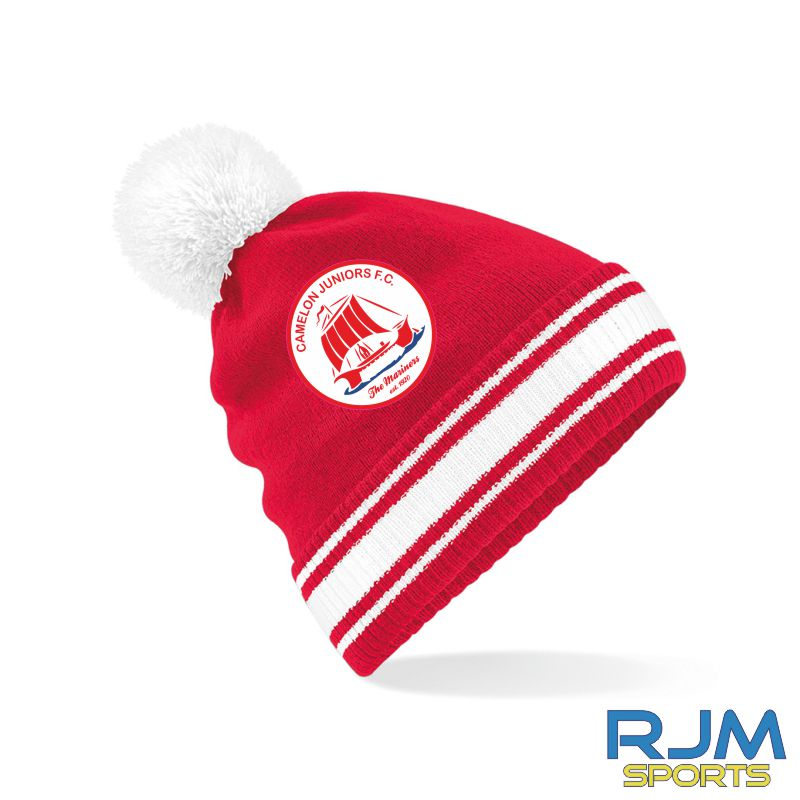 Camelon Juniors FC Bobble Hat Classic Red White