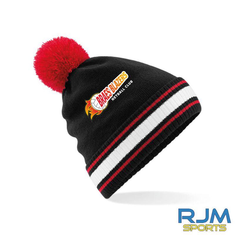 Braes Blazers Beechfield Bobble Hat Black Red White