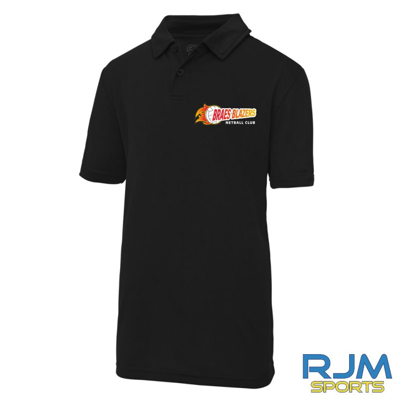 Braes Blazers AWDis Kids Polo Shirt Black