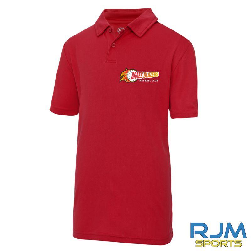 Braes Blazers AWDis Kids Polo Shirt Red