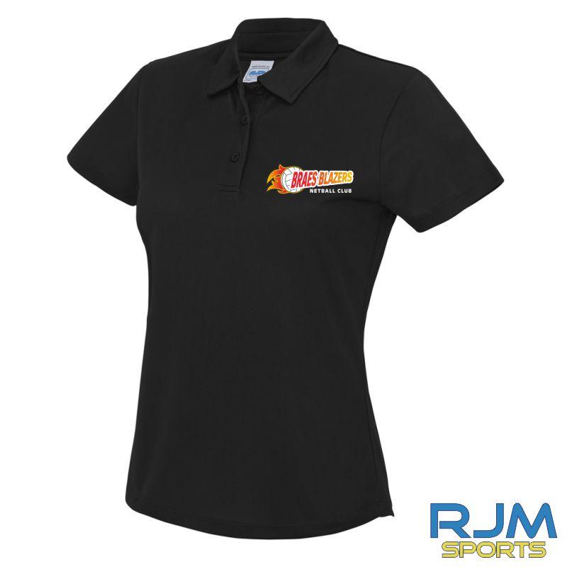 Braes Blazers AWDis Ladies Polo Shirt Black