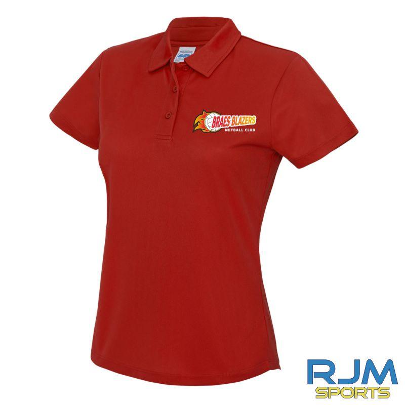 Braes Blazers AWDis Ladies Polo Shirt Red
