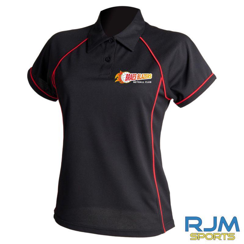 Braes Blazers Finden & Hales Ladies Polo Shirt Black Red