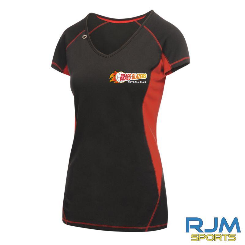 Braes Blazers Regatta Sport Ladies Bejing T-Shirt Black Red