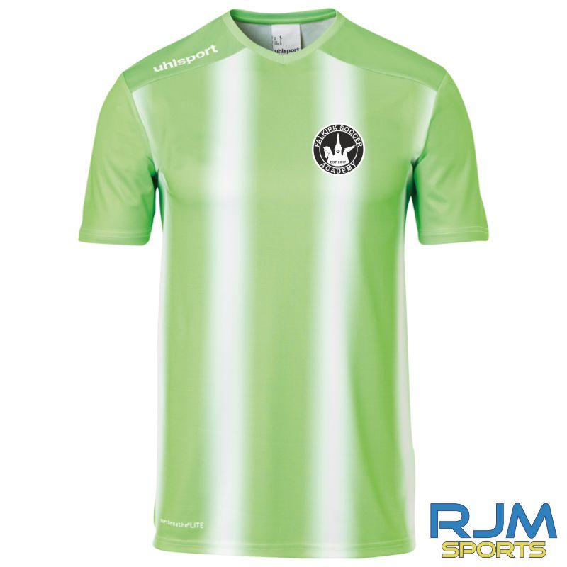 Falkirk Soccer Academy Uhlsport Stripe 2.0 Short Sleeve Away Shirt Fluo Green White