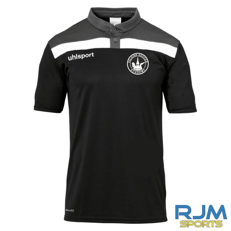 Falkirk Soccer Academy Uhlsport Offense 23 Coaches Polo Shirt Black Anthra White