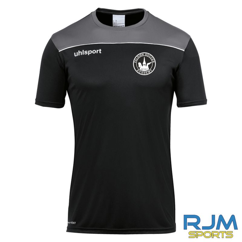 Falkirk Soccer Academy Uhlsport Offense 23 Short Sleeve Coaches Shirt Black Anthra White