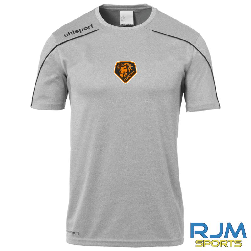 SJFC Uhlsport Stream 22 Short Sleeve Training Shirt Dark Grey Melange/Black