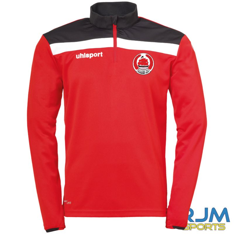 Clyde FC Uhlsport Offense 23 Quarter Zip Top Red/Black/White