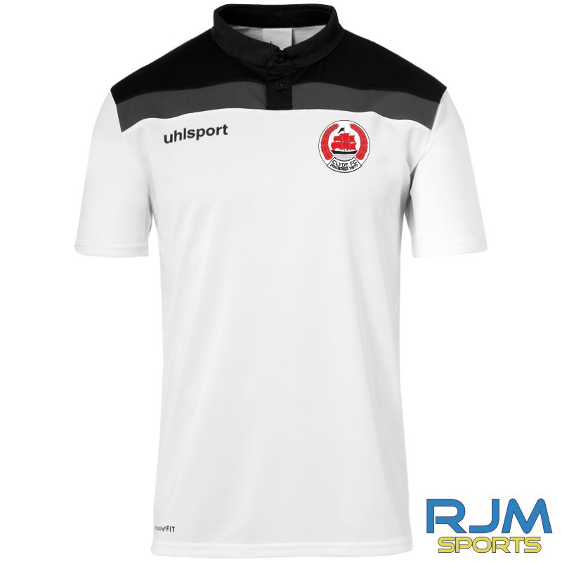 Clyde FC Uhlsport Offense 23 Polo Shirt White/Black