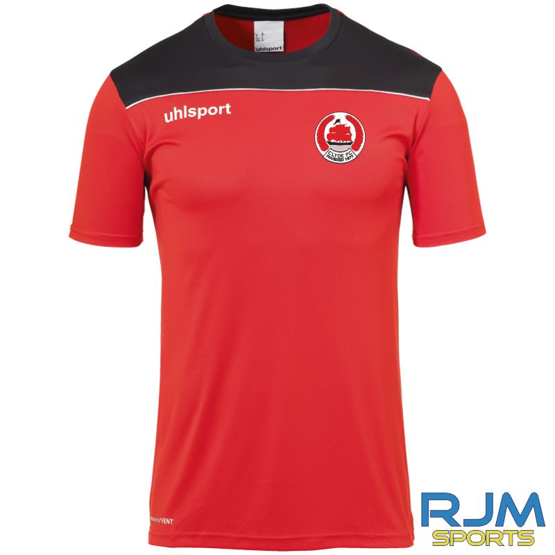 Clyde FC Uhlsport Offense 23 Poly T-Shirt Red/Black/White