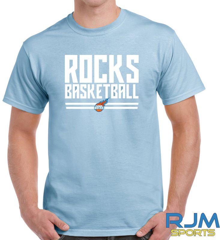 Glasgow Rocks Gildan Rocks Basketball T-Shirt Light Blue