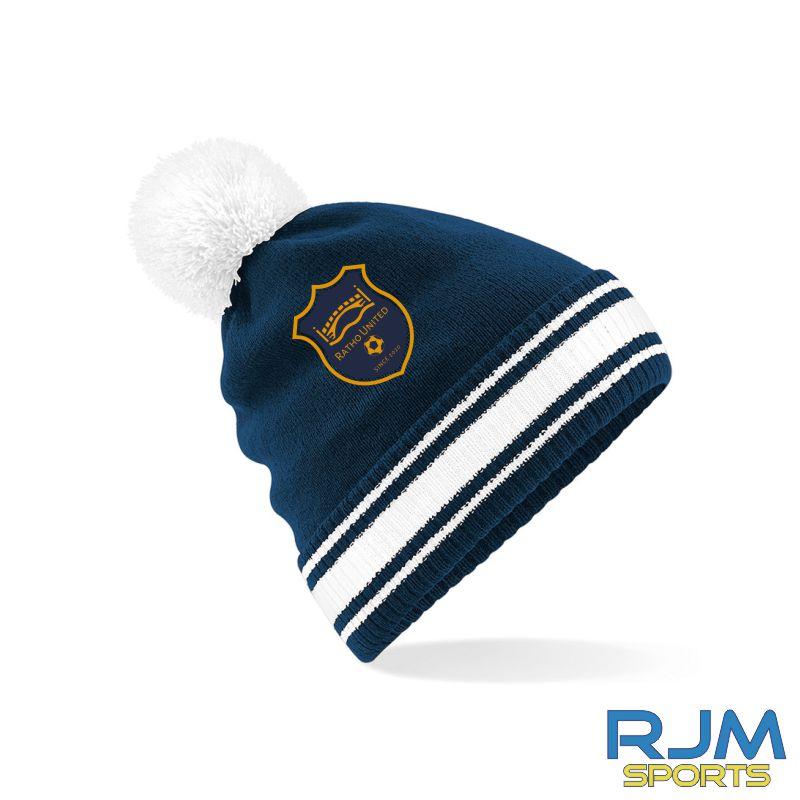 Ratho Utd Beechfield Bobble Hat Navy/White