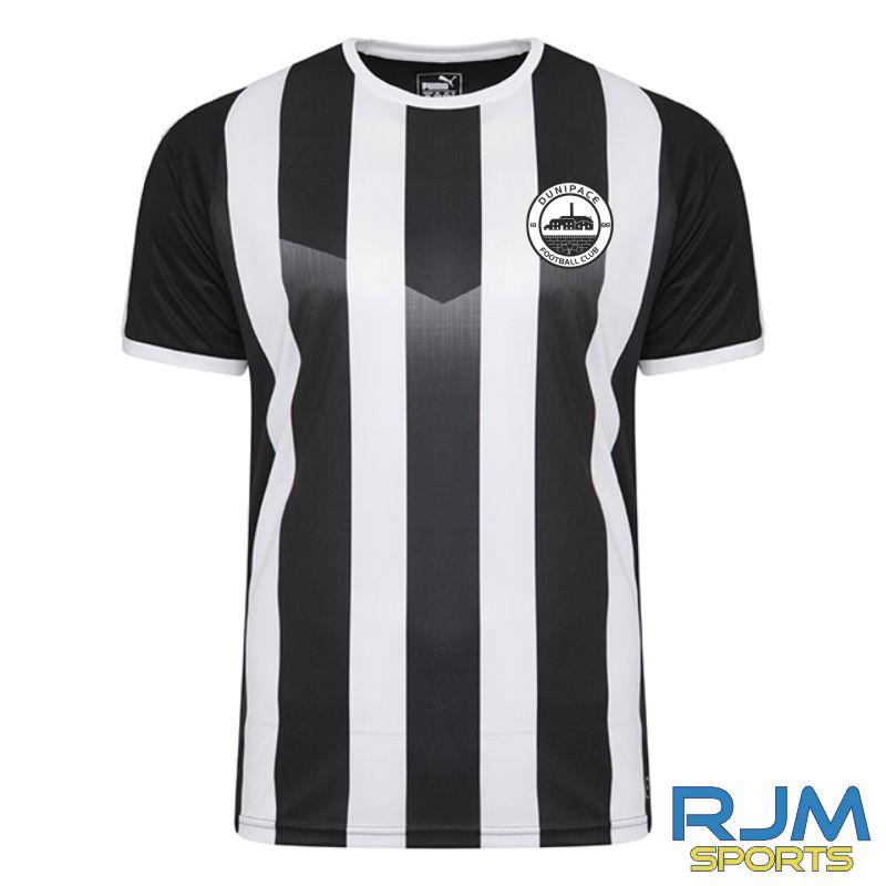 Dunipace FC Home Puma Liga Striped Short Sleeve Shirt Black/White