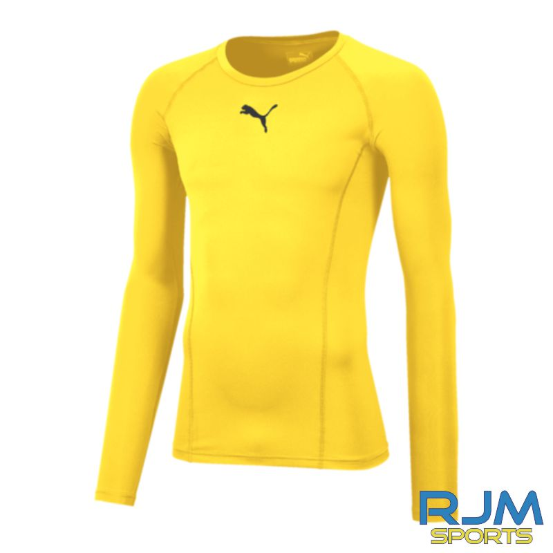 Cumbernauld Colts Puma Baselayer Long Sleeve Shirt Cyber Yellow