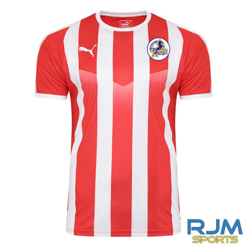 Cumbernauld Colts Away Puma Liga Striped Short Sleeve Shirt Red/White