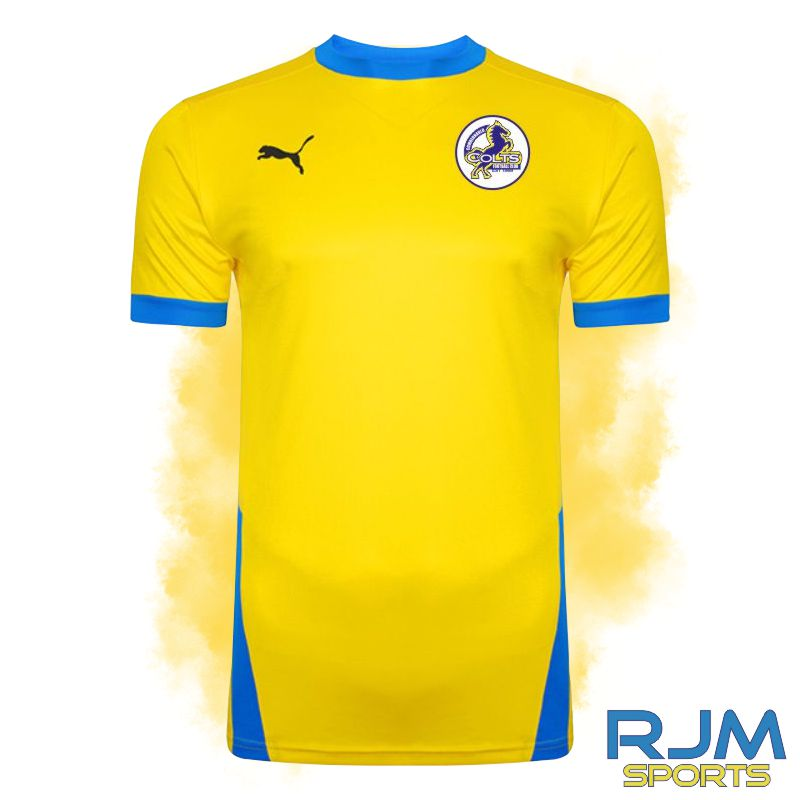 Cumbernauld Colts Home Puma Goal Short Sleeve Shirt Cyber Yellow/Electric Blue