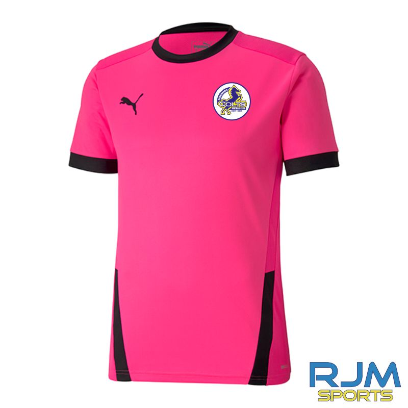 Cumbernauld Colts Girls Puma Goal Short Sleeve Shirt Fluo Pink/Black