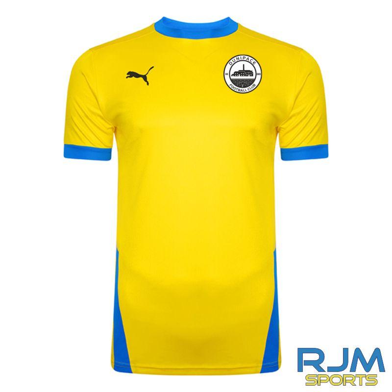 Dunipace FC Away Puma Goal Short Sleeve Shirt Cyber Yellow/Electric Blue